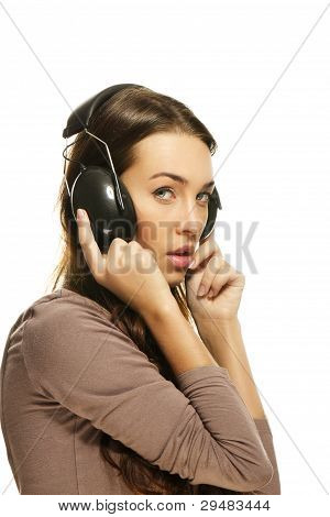 shy woman with headphones