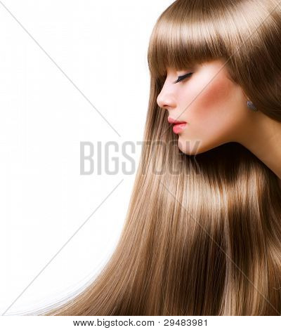 Blond Hair.Beautiful vrouw met rechte lange haren