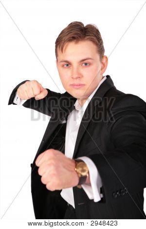 Aggressive Man In Suit