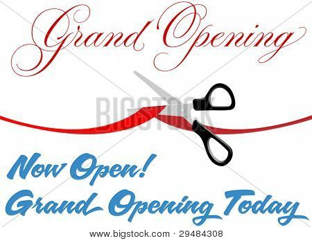 Pair of scissors cut red Grand Opening ribbon border at ceremony to open new store or website