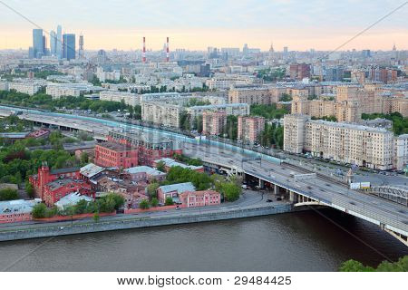 MOSCOW - MAY 15: Novoandreevsky bridge, on May 15, 2011 in Moscow, Russia. Moscow authorities have banned the installation of advertising designs on facades of buildings and fences.