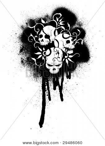 graffiti skulls illustration (raster version)