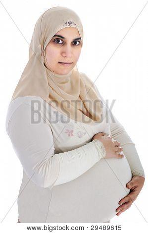 Mulher grávida árabe muçulmana