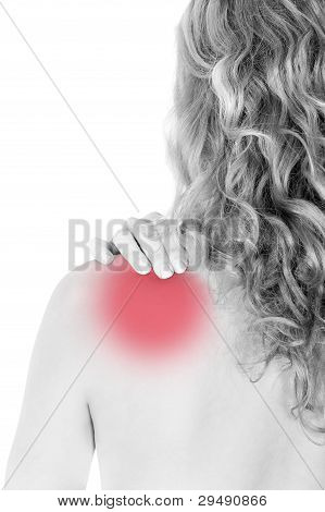 Rear View Of A Young Woman Holding Her Neck In Pain