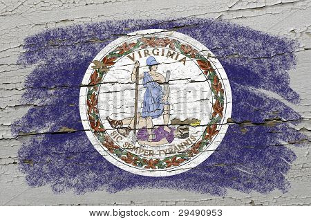 Flag Of Us State Of Virginia On Grunge Wooden Texture Precise Painted With Chalk