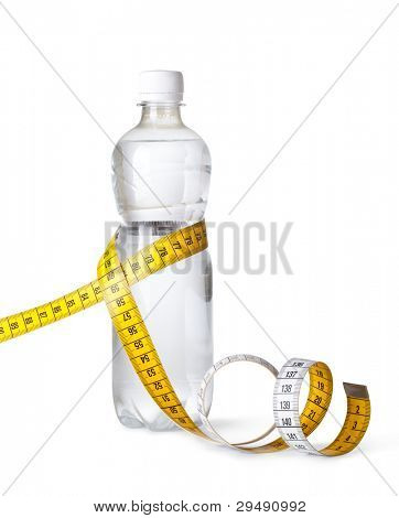 yellow tape measure and a water bottle isolated on white background