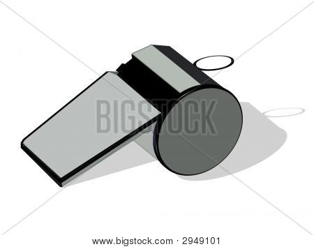 Referee Whistle On White Background