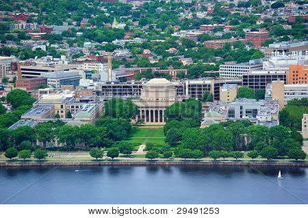 Boston Massachusetts Institute of Technology campus with trees and lawn aerial view with Charles River