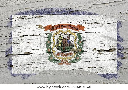 Flag Of Us State Of West Virginia On Grunge Wooden Texture Painted With Chalk
