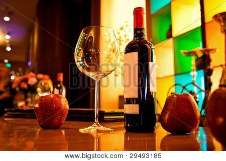Empty glasses and wine set in restaurant