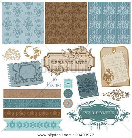 Elegantes elementos de diseño de bloc de notas - Vintage Marcos y elementos Damasco en vector