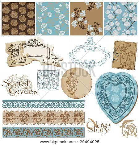 Elementos de diseño de bloc de notas - fondos de pantalla de flores Vintage y elementos Vintage en vector