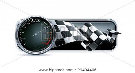 Racing banner with speedometer, vector