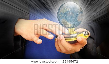 Hand Of Business Man Touch Screen Of Mobile Phone
