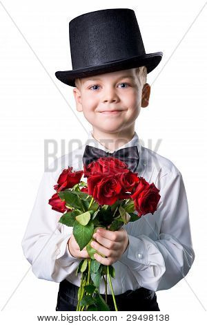 Handsome Boy In Classic Suit With Flowers Isolated On White Background