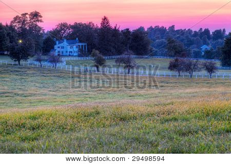 Sunset on a horse farm