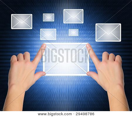 Female Hand Pressing E-mail Sign On A Touch Screen Interface Over Black And Blue Background