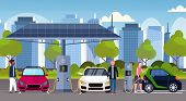 Mix Race People Charging Electric Cars At Electrical Charge Station Renewable Eco Friendly Vehicle C poster