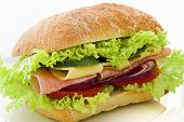 stock photo of bap  - Sandwich with Ham and Cheese - JPG