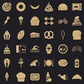 Calories In Croissant Icons Set. Simple Style Of 36 Calories In Croissant Vector Icons For Web For A poster
