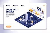 Distribution And Logistics Isometric Concept. Global Sipping Insurance Service. International Trade  poster