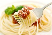 stock photo of pesto sauce  - spaghetti with tomato sauce - JPG