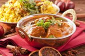stock photo of biryani  - Indian meal with curry and biryani - JPG
