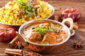 picture of biryani  - Indian meal with curry and biryani - JPG