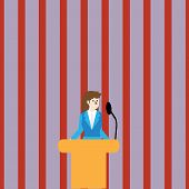 Woman In Business Suit Standing Behind Colorful Podium Rostrum Photo And Speaking On Wireless Microp poster