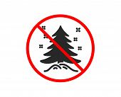 No Or Stop. Christmas Tree Present Icon. New Year Spruce Sign. Fir-tree Symbol. Prohibited Ban Stop  poster