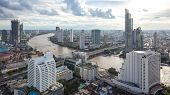 Aerial View  Curve Chao Phraya River Bangkok City Downtown Skyline Of Bangkok Thailand On 2017, Pano poster