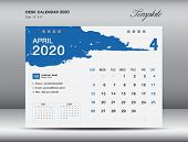 Desk Calendar 2020 Template Vector, April 2020 Month, Business Layout, 8x6 Inch, Week Starts Sunday, poster