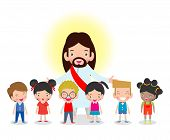 Jesus Christ And Kids, Children With Jesus Christ, Christianity Design Isolated On White Background  poster