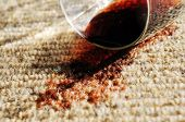 picture of glass-wool  - a glass of red wine spilt on a pure wool carpet - JPG