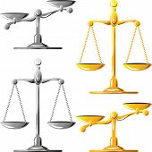 foto of scales justice  - gold and silver scales balanced and unbalanced isolated on white background - JPG