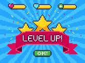 Level Up Screen. Pixel Video Game Achievement, Pixels 8 Bit Games Ui And Gaming Level Progress Vecto poster