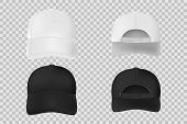 Set Of Baseball Cap Black And White Mockup. Realistic Cap Template Front And Back Vie Isolated On Tr poster