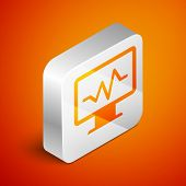 Isometric Computer Monitor With Cardiogram Icon Isolated On Orange Background. Monitoring Icon. Ecg  poster