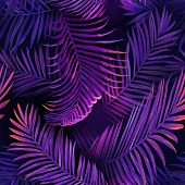 Tropical Neon Palm Leaves Seamless Pattern. Jungle Purple Colored Floral Background. Summer Exotic B poster
