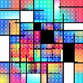 Colorful geometric background Mondrian inspired. 3D rendering poster