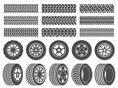 Wheel Tires. Car Tire Tread Tracks, Motorcycle Racing Wheels Icons And Dirty Tires Track Vector Illu poster