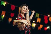 Brazilian Woman Wearing Typical Clothes For The Festa Junina - June Festival poster