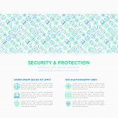 Security And Protection Concept With Thin Line Icons: Mobile Security, Fingerprint, Badge, Firewall, poster