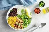 Chipotle Spicy Chicken Lunch Bowl With Rice Corn, Beans, Rice And Jalapenos poster