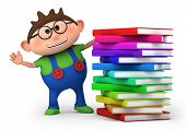 image of reading book  - cute little boy waving from behind a stack of books  - JPG