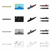 Isolated Object Of War  And Ship Logo. Collection Of War  And Fleet Vector Icon For Stock. poster