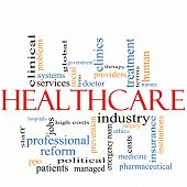 foto of health-care  - A Healthcare word cloud concept with terms such as reform industry insurance hospital doctor nursers and more - JPG
