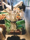 Stand With Many Single Use Plastic Bags In Supermarket At Vegetables. Ban Single Use Plastic. Rolls poster