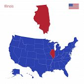 The State Of Illinois Is Highlighted In Red. Blue Vector Map Of The United States Divided Into Separ poster