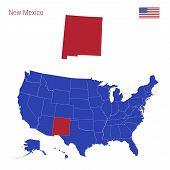 The State Of New Mexico Is Highlighted In Red. Blue Vector Map Of The United States Divided Into Sep poster